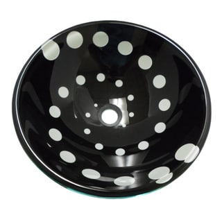Swirl Black Spotted Tempered Glass Vessel Sink