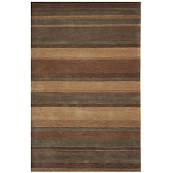 Hand-Tufted Dynasty Striped Brown Area Rug (5' x 7'9