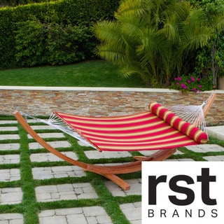 RST Cantina Arc Hammock Stand with Striped Poly Hammock with Bolster Pillow