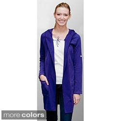 AtoZ Women's Cotton Extra-long Hooded Cardigan