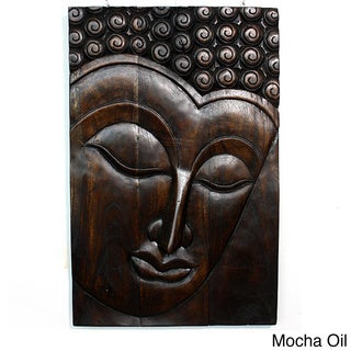 'Serene Buddha' Mocha Oil Carved Panel (Thailand)