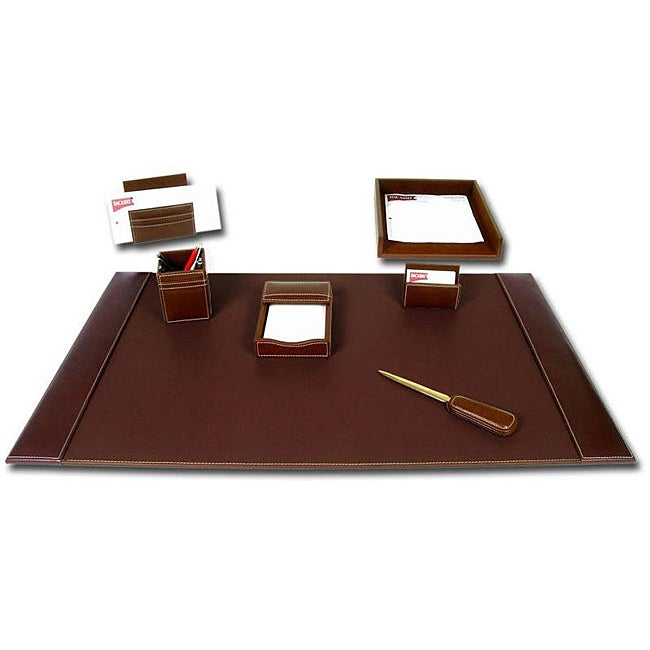 dacasso rustic brown leather 7 piece desk set 14145609