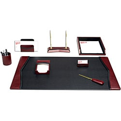 Dacasso Burgundy Leather 8-piece Desk Set