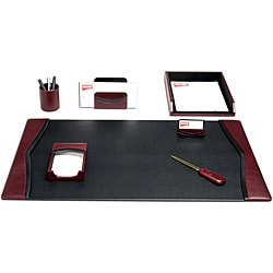 Dacasso Two-tone Burgundy Seven-piece Top-grain Leather Desk Set
