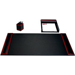 Dacasso Wood & Leather 3-piece Desk Set