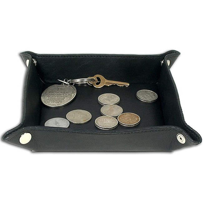 Dacasso Durable Black Top-grain Leather Felt-lined Change Tray