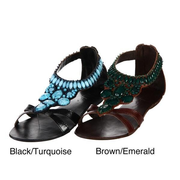 MIA Women's 'Tigris' Leather Beaded Sandals