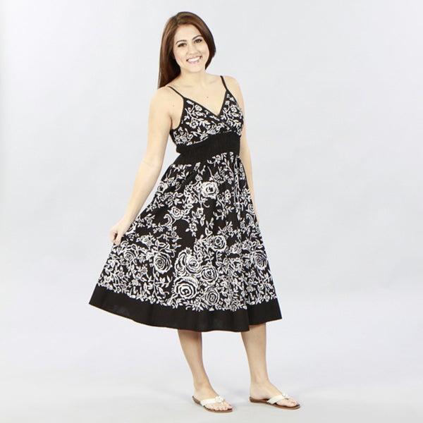 Meetu Magic Black/ White Cotton Maxi Dress
