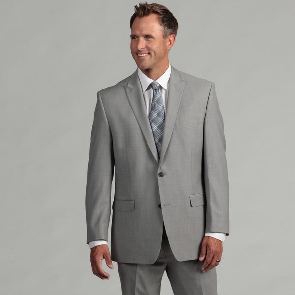 Calvin Klein Men's Silver Two-button Wool Suit