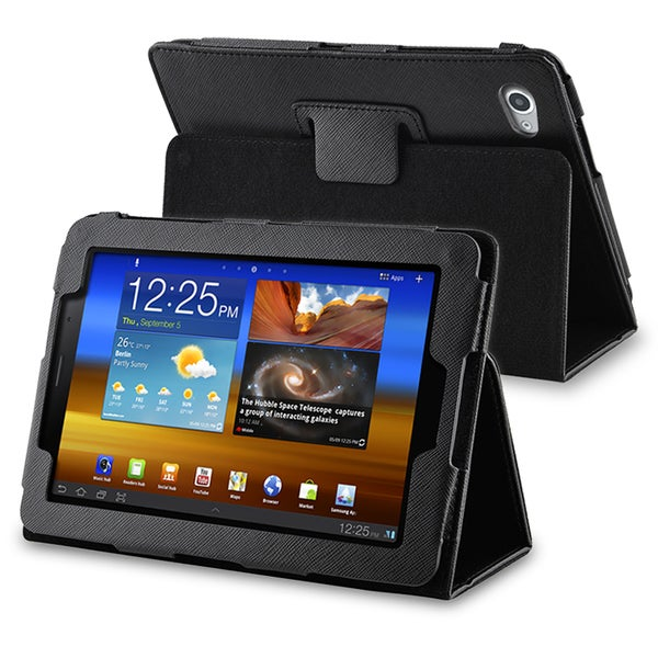 INSTEN Black Synthetic Leather Tablet Case Cover for Samsung Galaxy Tab 7.7-inch