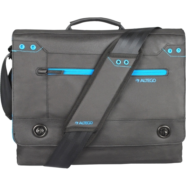 "Altego Coated Canvas Cyan 15"" Laptop Messenger Bag"