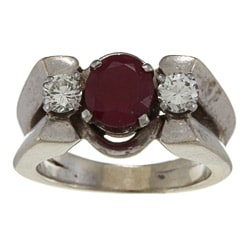 18k White Gold Ruby and 1/2ct TDW Diamond Estate Ring (J-K, VS1-VS2)
