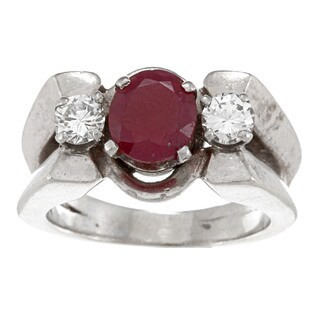 Pre-owned 18k White Gold Ruby and 1/2ct TDW Diamond Estate Ring (J-K, VS1-VS2)