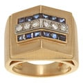 14k Yellow Gold Sapphire and 1/3ct TDW Diamond Estate Ring (H-I, SI1-SI2)