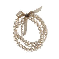 Roman Beige Faux Pearl 3-row Ribbon Stretch Bracelet