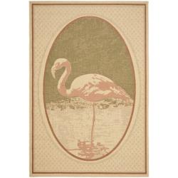 Key West Flamingo Natural Indoor Outdoor Rug (5'3 x 7'7)
