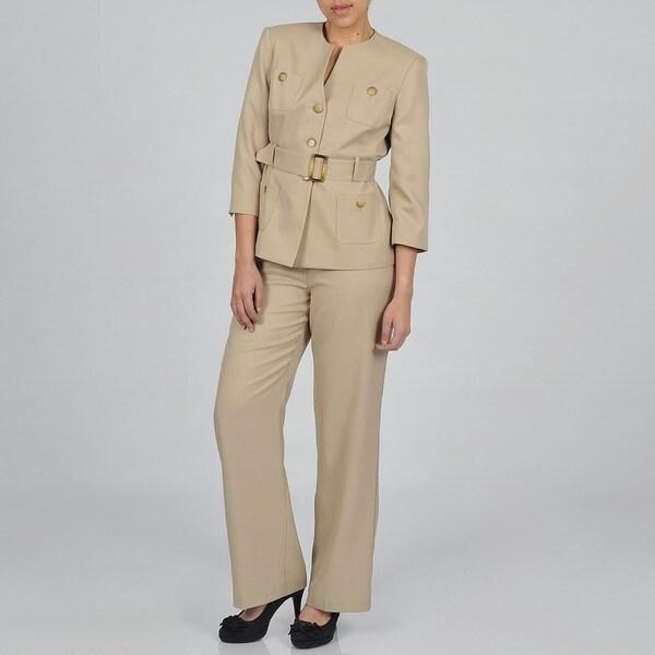 J Rose Women's Plus-size Two-piece Safari Pant Suit