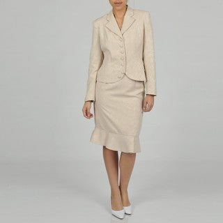J Rose Women's Plus Size Two-piece White Jacquard Skirt Suit