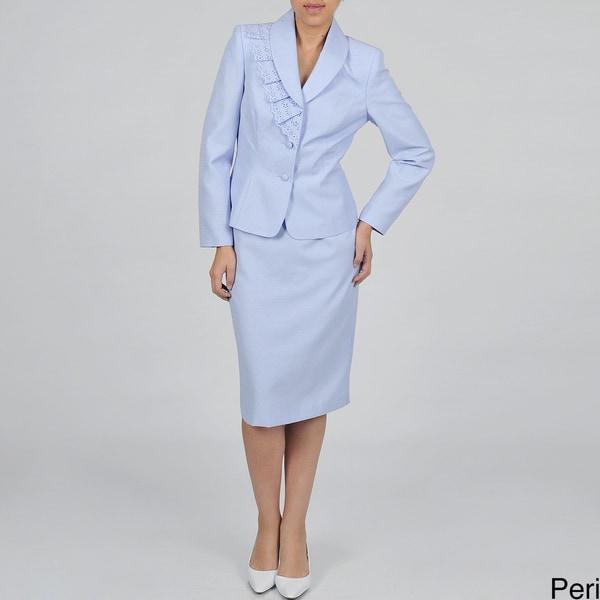 J Rose Women's Plus-size Two-piece Eyelet Ruffle Skirt Suit