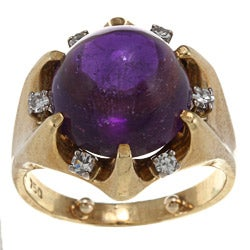 18k Yellow Gold Amethyst and 1/5ct TDW Diamond Estate Ring (I-J, SI1-SI2)