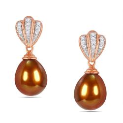 Miadora 18k Pink Gold over Silver FW Pearl and 1/10ct TDW Diamond Earrings (H-I, I3)