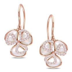 Miadora 14k Pink Gold Faux Pearl and 2/5ct TDW Diamond Earrings (H-I, SI2)