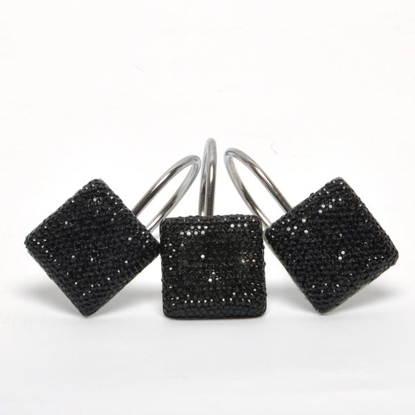 Black Crystal Onyx and Silvertone Shower Curtain Hooks (12 Pack)