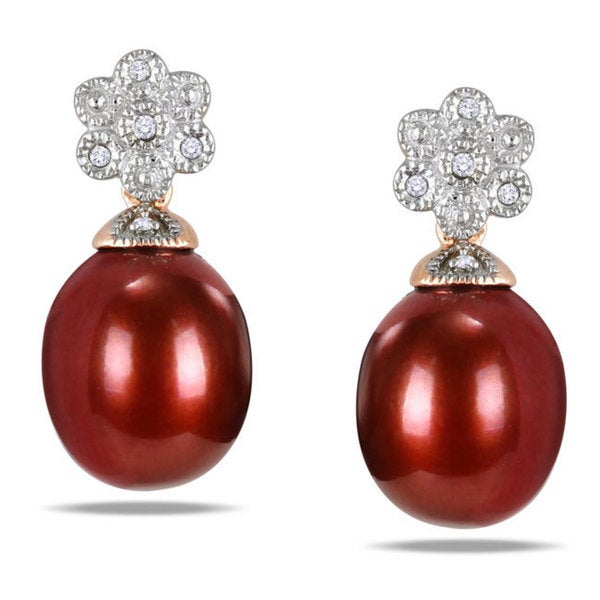 Miadora 18k Pink Gold over Silver Brown FW Pearl and Diamond Accent Earrings