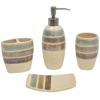 Rayan Beige-pinstriped Boutique Ceramic Bath Accessory 4-piece Set