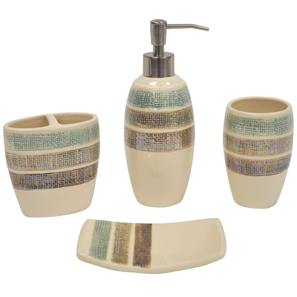 Rayan Beige-pinstriped Boutique Ceramic Bath Accessory 4-piece Set