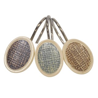 Rayan Embossed Weave Polyresin Beige 12-pack Shower Curtain J-hooks