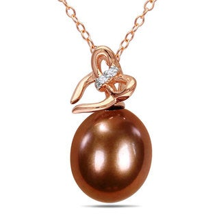 M by Miadora 18k Pink Gold over Silver FW Pearl and Diamond Accent Necklace