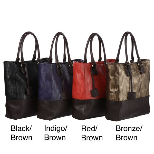Mondani Linden Snake Embossed Colorblock Tote Bag