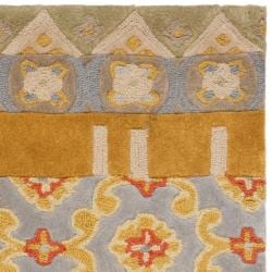 Handmade Rodeo Drive Collage Multicolor N.Z. Wool Rug (2'6 x 4'6)