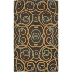 Handmade Rodeo Drive Iron Gate Brown Wool Rug (7'6 x 9'6)