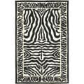 Handmade Rodeo Drive Zebra Black/ Off-White Wool Rug (7'6 x 9'6)