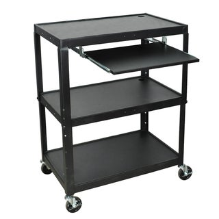 Luxor Adjustable Steel A/V Cart with Keyboard Shelf