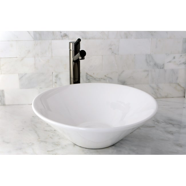 Vessel Vitreous China White Bathroom Sink - 14146738 - Overstock.com ...