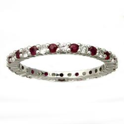 Beverly Hills Charm 10k Gold Ruby and White Sapphire Eternity Band