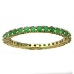Beverly Hills Charm 10k Yellow Gold 7/8ct TGW Emerald Eternity Band
