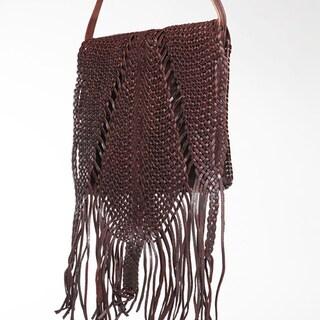 Espresso Fringed Leather Crossbody Bag (Morocco)