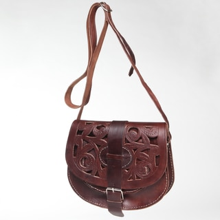 Chocolate Cut Leather Saddle Bag (Morocco)