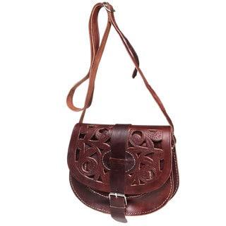 Chocolate Cut Leather Saddle Bag (Morocco)