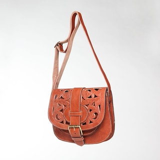 Henna Tan Small Cut Leather Saddle Bag (Morocco)