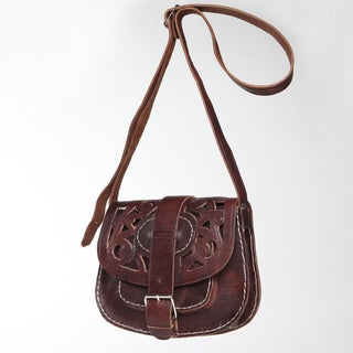 Chocolate Cut-Leather Saddle Bag with Shoulder Strap (Morocco)