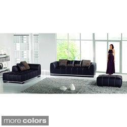Pescara 3-piece Leatherette Sofa with Chaise and Ottoman Set