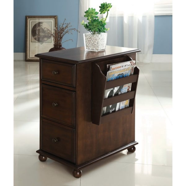 Furniture of America Meekal Antique Oak Storage Magazine Rack End Table
