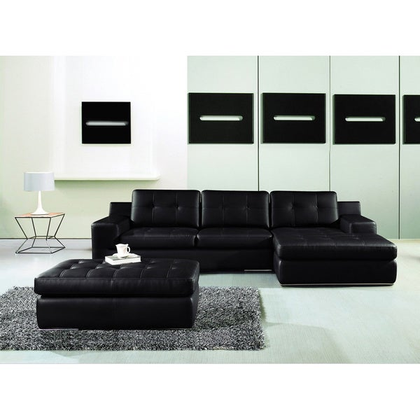 Furniture of America Tess Leatherette 3-piece Sectional and Chaise Set
