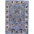 Indo Hand-tufted Gray/ Ivory Wool Rug (2' x 3')