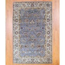 Indo Hand-Tufted Gray/Ivory Wool Area Rug (5' x 8')